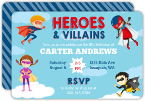 Heroes & Villains Birthday Invitation