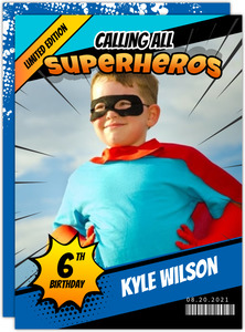 Superhero Comic Cover Birthday Invitation