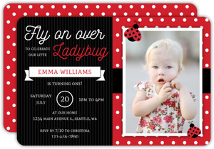 Fly On Over Ladybug Birthday Invitation