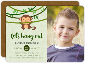 Let's Hang Out Monkey Birthday Party Invitation