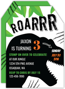 Roar Dinosaur Silhouette Kids Birthday Invitation