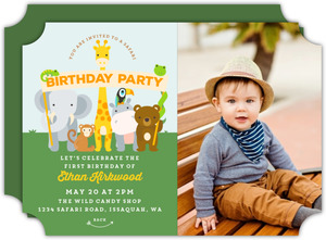 Blue and Brown Wild Animals Safari Birthday Invitation