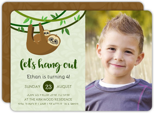 Hanging Baby Sloth Kids Birthday Invitation