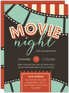 Film Strip and Ticket Movie Night Invitation