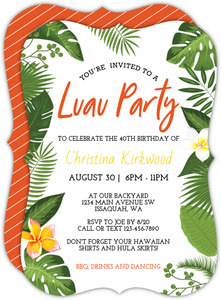 Tropical Hawaiian Foliage Luau Birthday Party Invitation