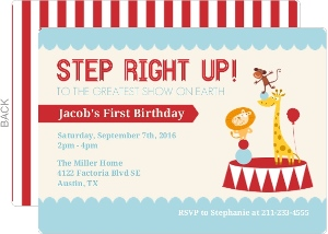 Circus Animals First Birthday Invitation