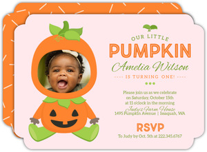 Pumpkin Costume Halloween Birthday Invitation
