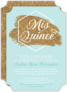 Modern Faux Glitter Quinceanera Invitation