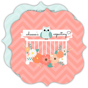 Peach Flowers Owl Baby Shower Invitation