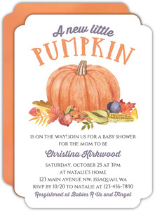 Fall Little Pumpkin Baby Shower Invitation