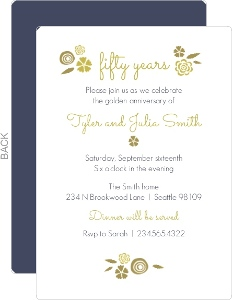 Gold Flowers Fiftieth Anniversary Invitation