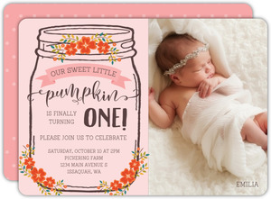 Autumn Floral Mason Jar Birthday Invitation