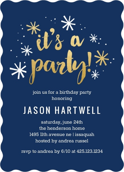 Navy And Faux Gold Confetti Birthday Invitation