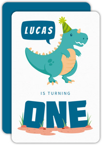 Blue Dinosaur First Birthday Invitation