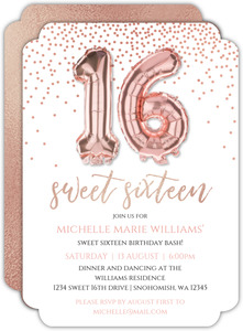 Faux Rose Gold Balloons Sweet 16 Invitation