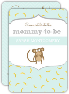 Pale Blue Banana Pattern Monkey Baby Shower Invitation