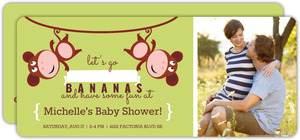 Lime Hanging Monkeys Baby Shower Invitation