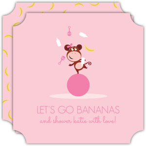 Girly Pink Monkey Baby Shower Invitation