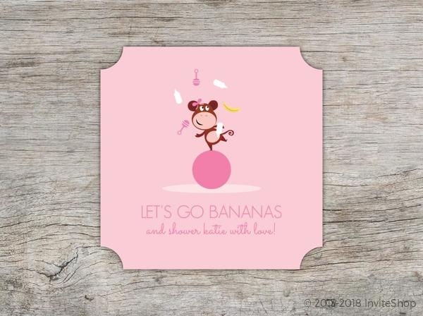 Girly pink monkey baby shower invitation baby shower invitations girly pink monkey baby shower invitation filmwisefo