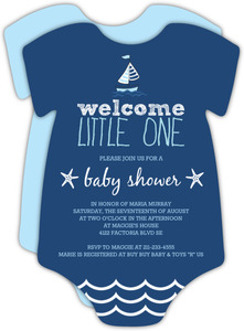 Sailboats and Starfish Boys Baby Shower Invitation