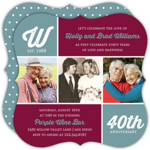 Modern Photo Monogram 40th Anniversary Invitation