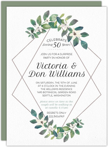 Diamond Frame Greenery Anniversary Invitation