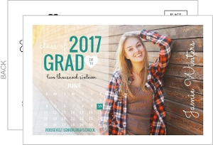 Modern Month Calendar Graduation Announcement