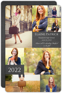 Collage Chalkboard Pinstripe Graduation Announcement
