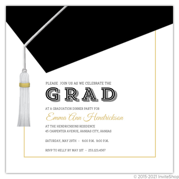 Classic Graduation Cap Invitation Graduation Announcements