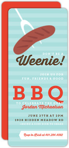 Modern Roasted Weenie Graduation BBQ Invitation