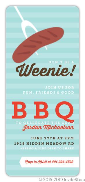 modern roasted weenie graduation bbq invitation graduation