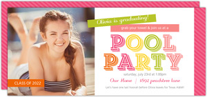 Vibrant Washi Tape Graduation Pool Party Invitation