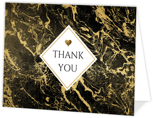 Faux Gold Foil & Marble Thank You Card