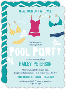 Flashy Swimwear Graduation Pool Party Invitation