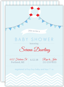 Baby Blue Chevron Nautical Baby Shower Invitation