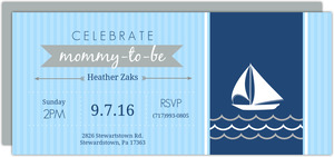 Navy and Light Blue Sailboat Baby Shower Invitation