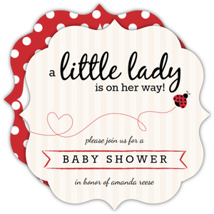 Flying Little LadyBug Girl Baby Shower Invitation