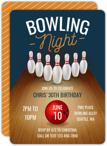 Bowling Lane Bowling Birthday Invitation