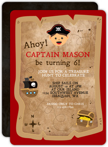 Vintage Treasure Hunt Pirate Birthday Invitation