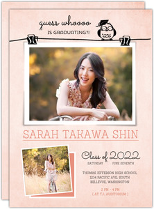 Cute Owl Photo Pin Graduation Announcement Card