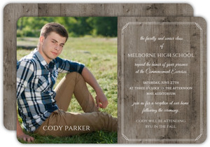 Formal Masculine Woodgrain Graduation Invitation