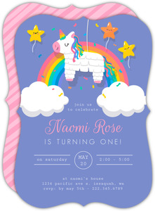 Unicorn Pinata First Birthday Invitation