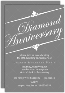 Formal Gray White Diamond Anniversary Invitation