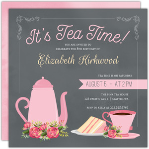 Gray & Pink Tea Set Birthday Party Invitation