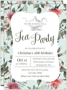 Beautiful Vintage Floral Tea Party Birthday Invitation