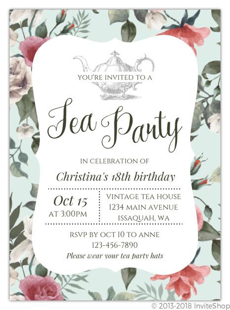 Beautiful Vintage Floral Tea Party Birthday Invitation