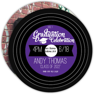 Vintage Music Record Graduation Invitation