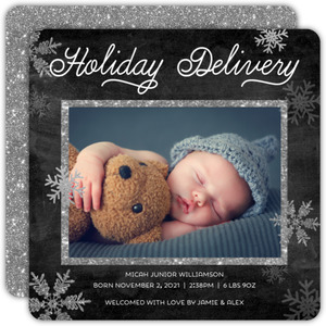 Holiday Delivery Glitter Snowflakes Christmas Birth Announcement