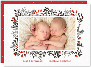Winter Leaves And Berries Birth Announcement