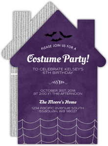 Purple House Halloween Birthday Invitation